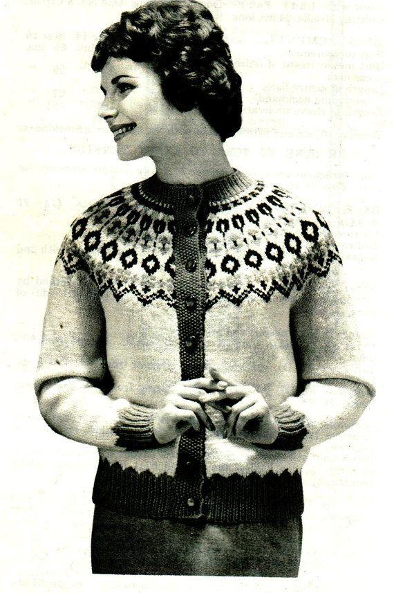 "1960,S Knitting Pattern PDF Womens Fair Isle Nordic Sweater Cardigan Sz 32 34 36"" DK Knit Vintage Graph"