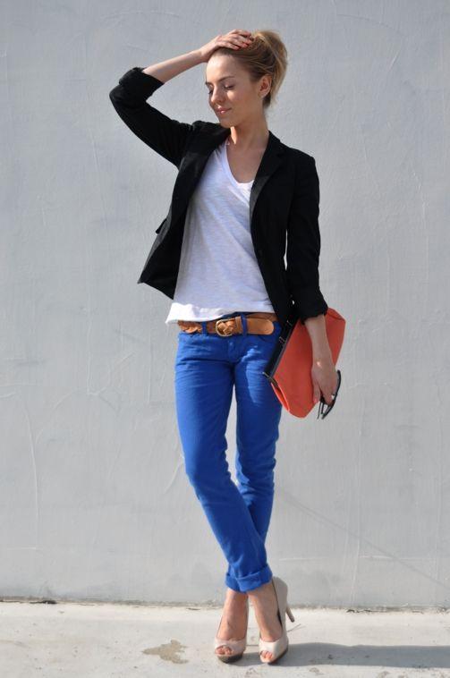 Casual Blue Blue Blue Fashions I Like Pinterest Schwarze Blazer L Ssig Und Hose