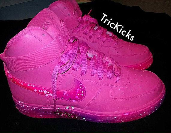 Air Force One High Top Customs Hot Pink with Drizzle by ...
