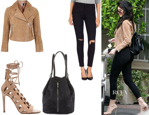 Kylie Jenner's Topshop Suede Biker Jacket, J Brand 'Alana' Crop Jeans, Elizabeth and James 'Cynnie' Drawstring Backpack And Aquazzura 'Amazon' Leather Heels