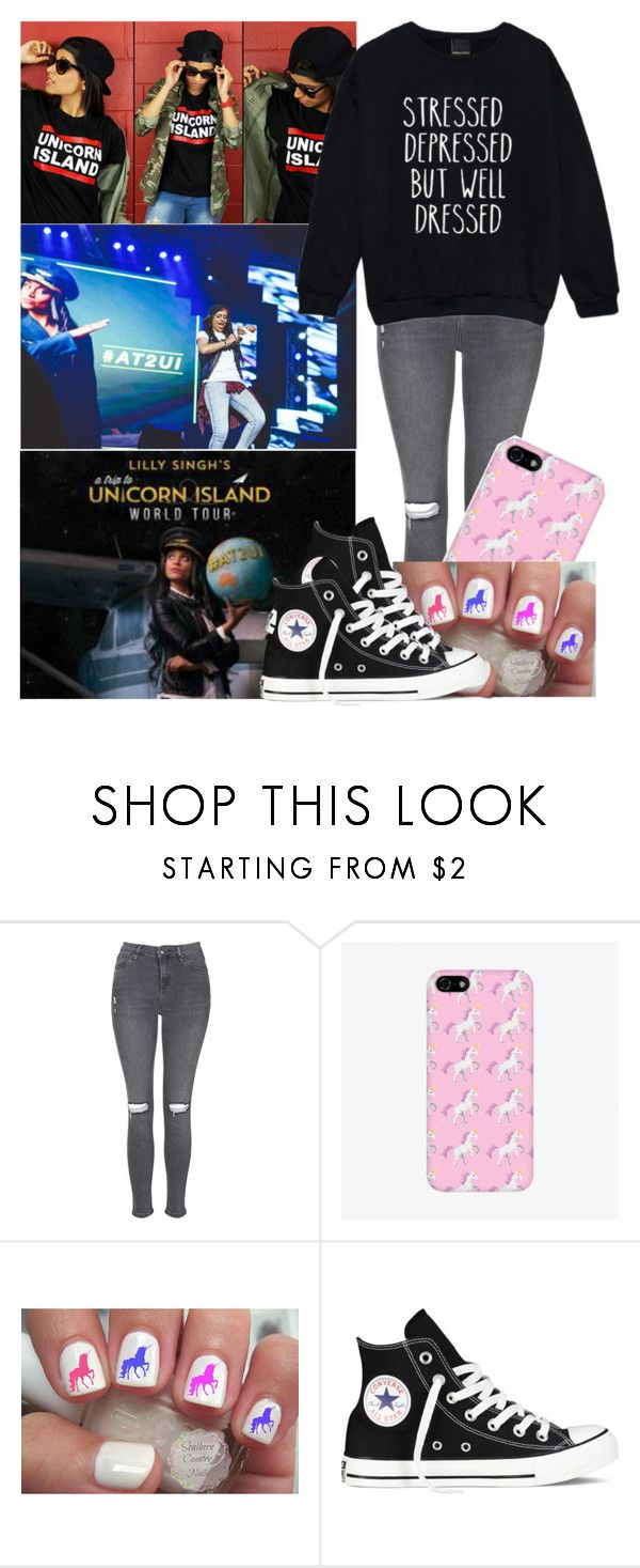 """100 Day Challenge: Day 55-Unicorn Island Tour"" by piksist ❤ liked on Polyvore featuring Topshop and Converse"