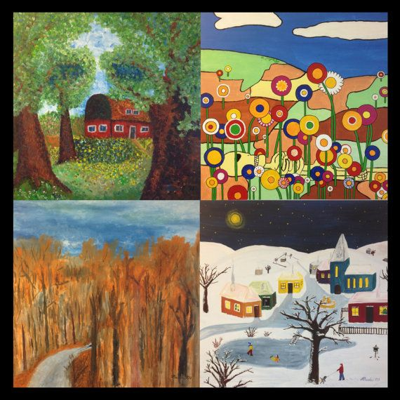 """paintings """"Four Seasons""""  if you're interested in buying all 4 I'll sell them for 850€.  Modern Impressionism Naive Expressionism Spring Summer Autumn Fall Winter Death Life Beauty Ugliness Flowers Kids Trees Car Christmas X-Mas Accident Bright Dark secret"""