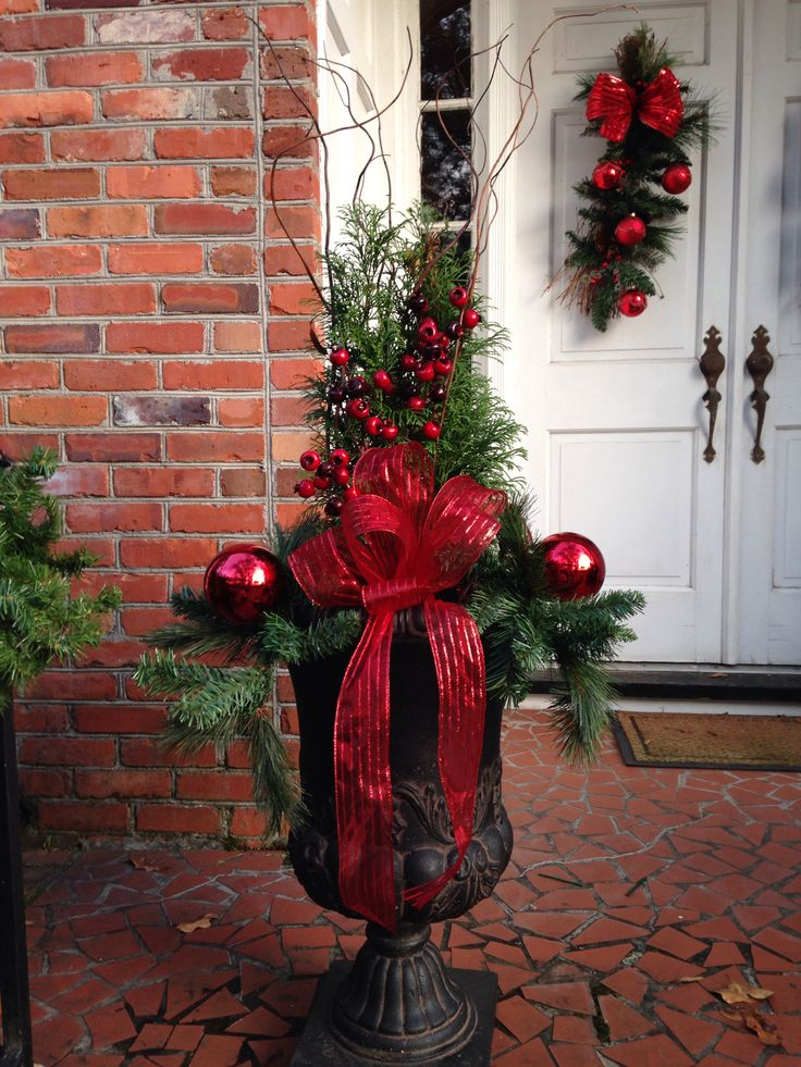 Outdoor Christmas Planters  Christmas  Pinterest ~ 085848_Christmas Decorating Ideas For Outdoor Planters