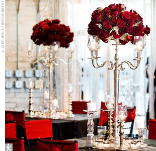 Red Roses Wedding Centerpiece ~ How elegant roses on silver candelabras...