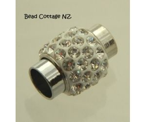 Magnetic Clasp Silver Rhinestone: 17mm with 6mm Hole x 1