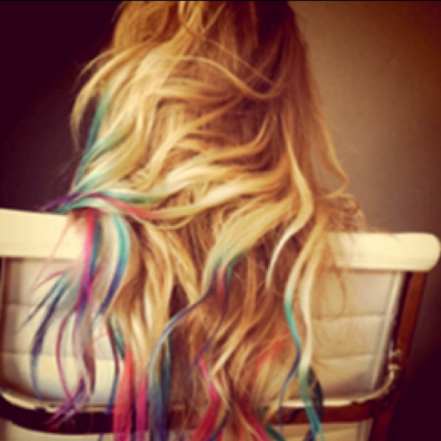 I want my hair dyed like this!: Rainbows Hair, Blondes Hair, Dips Dyed, Dips Dyes, Hairchalk, Colors Tips, Dyes Hair, Lauren Conrad, Hair Chalk