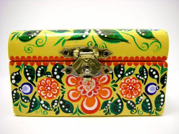 Wooden Small Jewelry Box.Russian folk art.Gorodets painting.