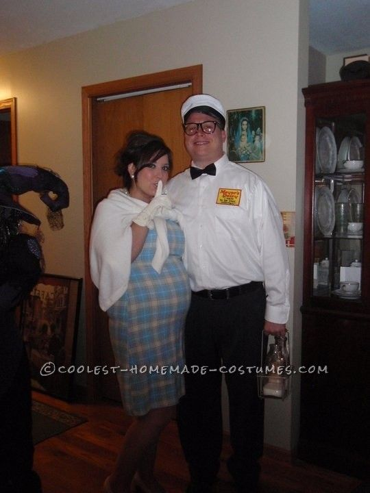 cool diy couple costume the milkmans baby - Pregnant Halloween Couples Costumes