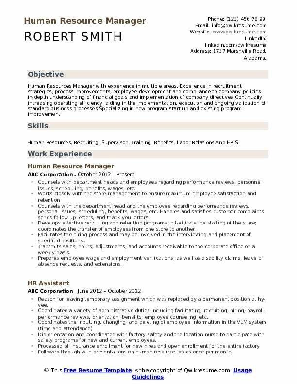 Human Resource Manager Resume Samples Qwikresume In 2020 Human Resources Resume Manager Resume Human Resources