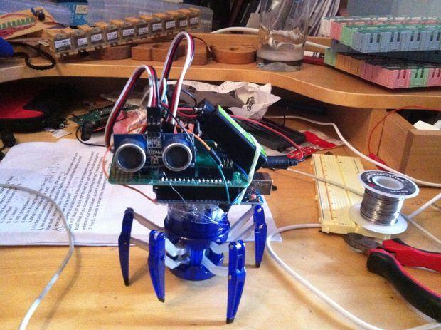 Picture of Hex Bug spider with a brain (autonomous robot)