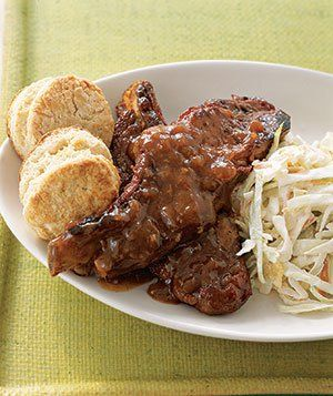 Cook the meat until fall-off-the-bone tender in a mixture of ketchup, cider vinegar, brown sugar, and Worcestershire sauce. Get the recipe for Slow-Cooker Spicy Country Ribs.