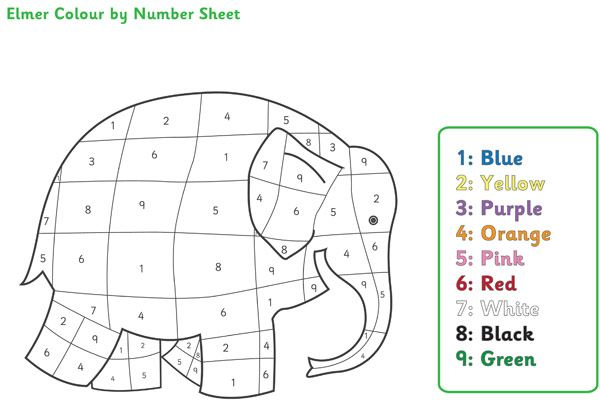 Elmer the Elephant Colour by Numbers | Free EYFS / KS1 Resources ...