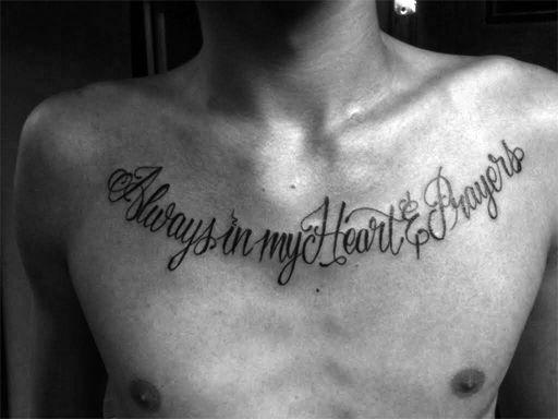 "Dedication tattoo for his grandmother ""Always in my Heart and Prayers""  #lettering #philadelphia #custom #script #tattoo #newjersey"
