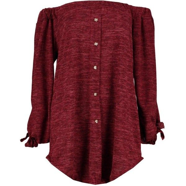 Boohoo Lacey Tie Sleeve Bardot Top ($14) ❤ liked on Polyvore featuring tops, red sequin top, turtle neck top, going out tops, night out tops and animal print tops
