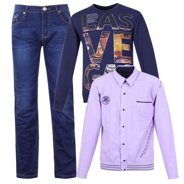 Стильный лук для мальчика - прямые джинсы, рубашка модного лилового оттенка и толстовка.