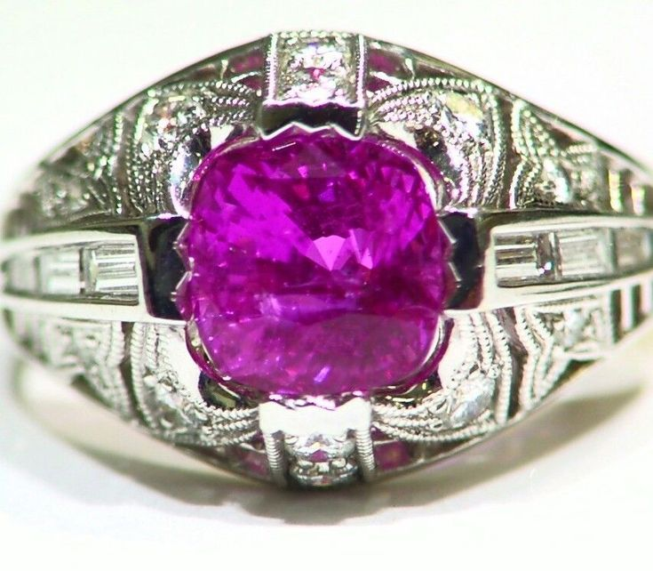 3.96CT 18K GOLD NATURAL SAPPHIRE ROUND WHITE DIAMOND ENGAGEMENT RING VINTAGE CUT #saltydogwalter #Cocktail #Birthday