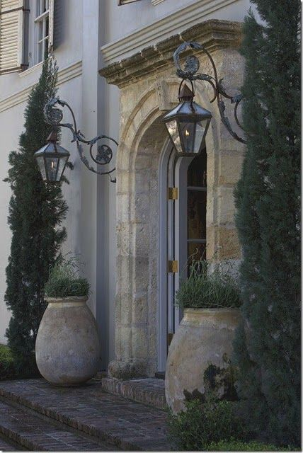 Beautiful entranceExterior Lights, Lights Fixtures, Front Doors, Gardens, Front Entrance, Front Entry, Lanterns, Front Porches, French Style