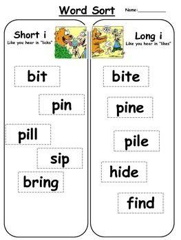 Free literacy center activity: Short i vs. long i word ...