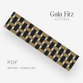Bead loom pattern, Gold and black beaded bracelet, Bead weaving loom PDF pattern, Loomed cuff bracelet pattern