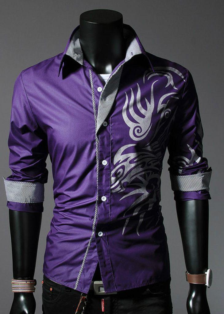 New Mens Fashion Luxury Casual Slim Fit Stylish Long Sleeve Dress Shirts Print