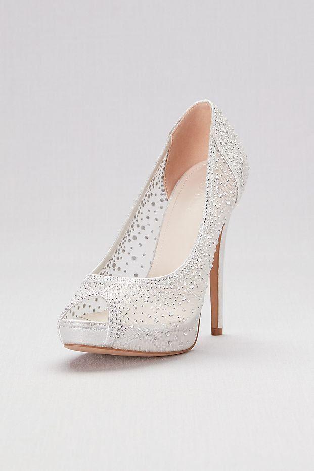 181c67180c5 Sheer Mesh Peep-Toe Platform Heels with Crystals