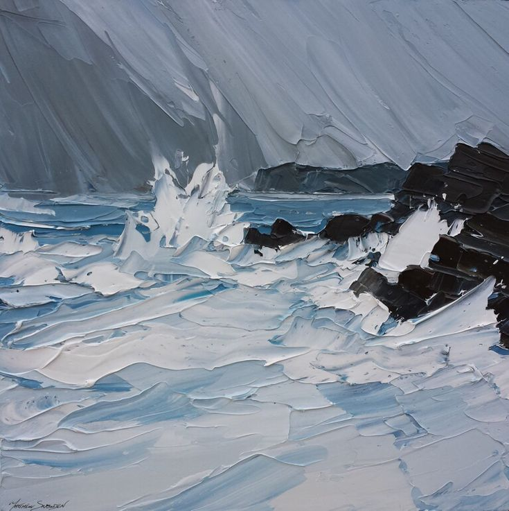 by Matthew Snowden. 'Storm, Treaddur Bay'.I admire the techniques used here. I like how a palette knife has been used to create the white water of the sea. it conveys the water crashing against the rocks really well.