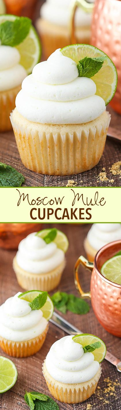 Moscow Mule Cupcakes! With ginger and lime flavor!