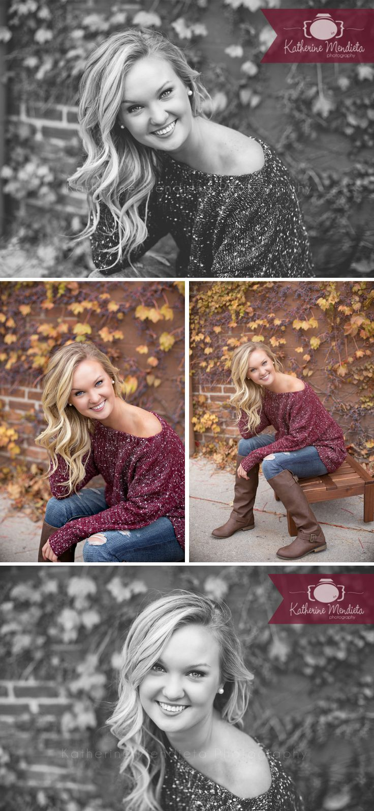Gorgeous fall session. Love her voluminous blonde curls and slightly off shoulder sweater. Fall ivy leaves. brown boots, distressed jeans. Senior Portrait Model. photo by Twin Cities, Minnesota Photographer @Katherine Mendieta Photography Mendieta Photography. senior picture ideas for girls. senior girl poses
