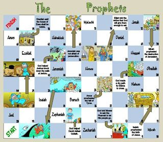The Prophets Game-  The object of the game is to be the first player to go from square number 1 to square number 80. Age 5 to adult.