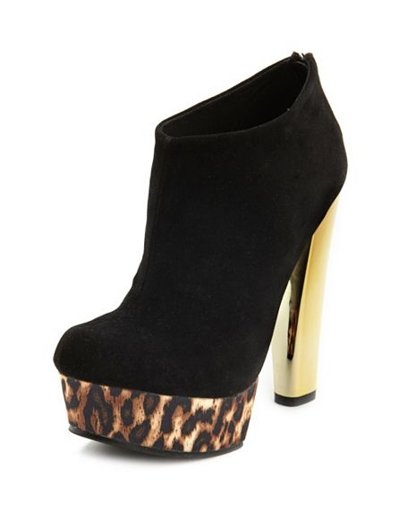 Our Sueded Disco Leopard Heel Bootie looks amazing with tights and bandage skirt or skinny jeans! #shoes #booties