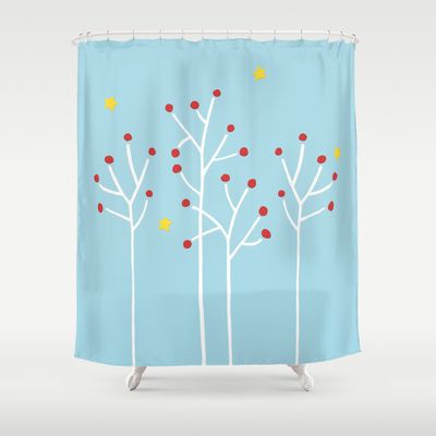 Simple Trees white blue Shower Curtain by Floating Lemons - $68.00