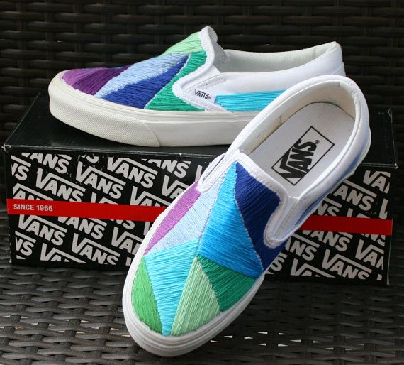 Custom Hand Embroidered Vans Shoes - Saltwater Blue - My size 8 or 8.5 - Etsy