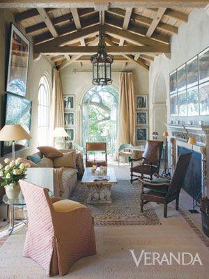 Stunning design and room with amazing wood ceiling ~ John Saladino