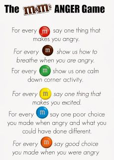 Calming: Living a RAD Life: M&Ms Feelings Activity.  Could also use Skittles as a peanut-free alternative.