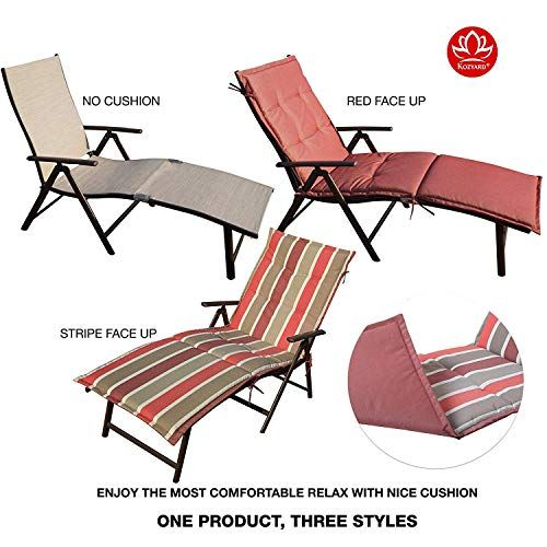Lounge Chair Kozyard Cozy Aluminum Beach Yard Pool Folding Reclining Chaise Beige With Red Cushion Loungechair