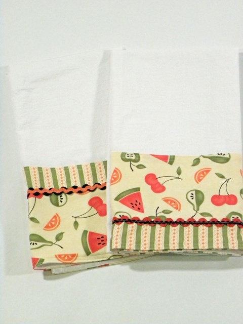 cute idea - I especially like the double ric-rac on the right - - - Fruit Tea Towel Flour Sack Towel Set of Two by RegansSweatShoppe