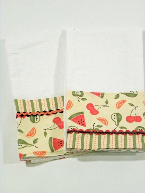 cute idea - I especially like the double ric-rac on the right - - - Fruit Tea Towel Flour Sack Towel Set of Two by RegansSweatShoppe