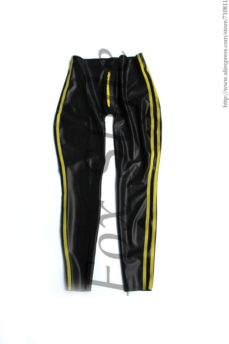 Men sexy latex pants with crotch zip black and yellow