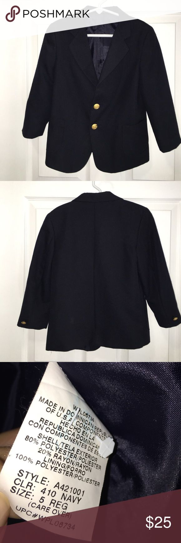 🐰Dark navy blue blazer for boys Have your little boy look like a little gentleman in this classic two button blazer.  Perfect for Easter or any dressy occasion.  I ship same day!  Gold tone buttons.  80 percent polyester/20 percent rayon.  Excellent condition.  No stains.  No rips.  Treated with care. Arrow Jackets & Coats Blazers