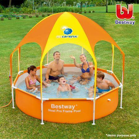 Bestway Large UV Careful 40+ UPF Splash-in-Shade Play Pool Water Set