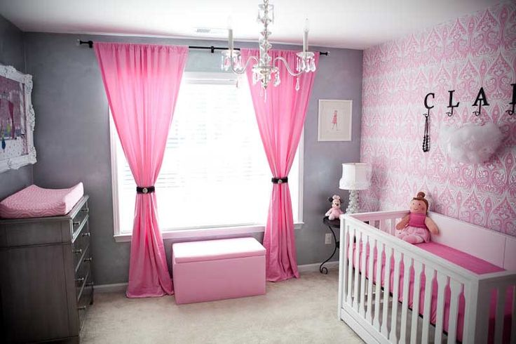 Baby Nursery. Mesmerizing Baby Room Design Ideas: Gorgeous And Luxury Baby Girl Nursery Ideas With Curtain Chandelier Pink Pattern Wallpaper For Minimalist Pink And Grey Colour Concept ~ wegli
