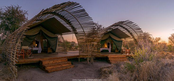 Safari Tents at Haina Lodge near the Central Kalahari Game Reserve, Botswana.