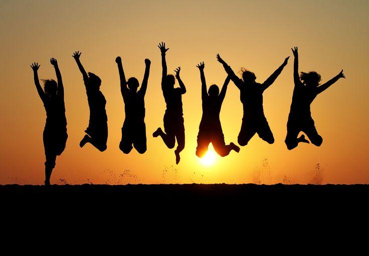 Jubilant jump of joy
