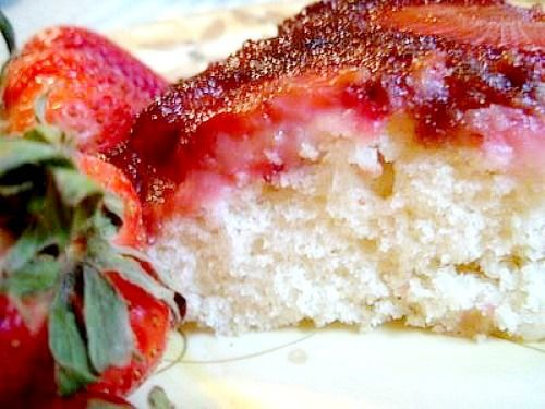 Strawberry Upside Down Cake  This is a wonderful little cake that takes practically no time at all to make and the results are outstanding.