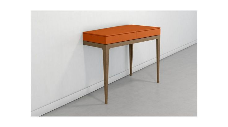 Asymmetrical vanity with 3 legs, top in MDF with matte lacquer finish, with flap and mirror, compartmentalized storage units upholstered in leather-like fabric,... Read more