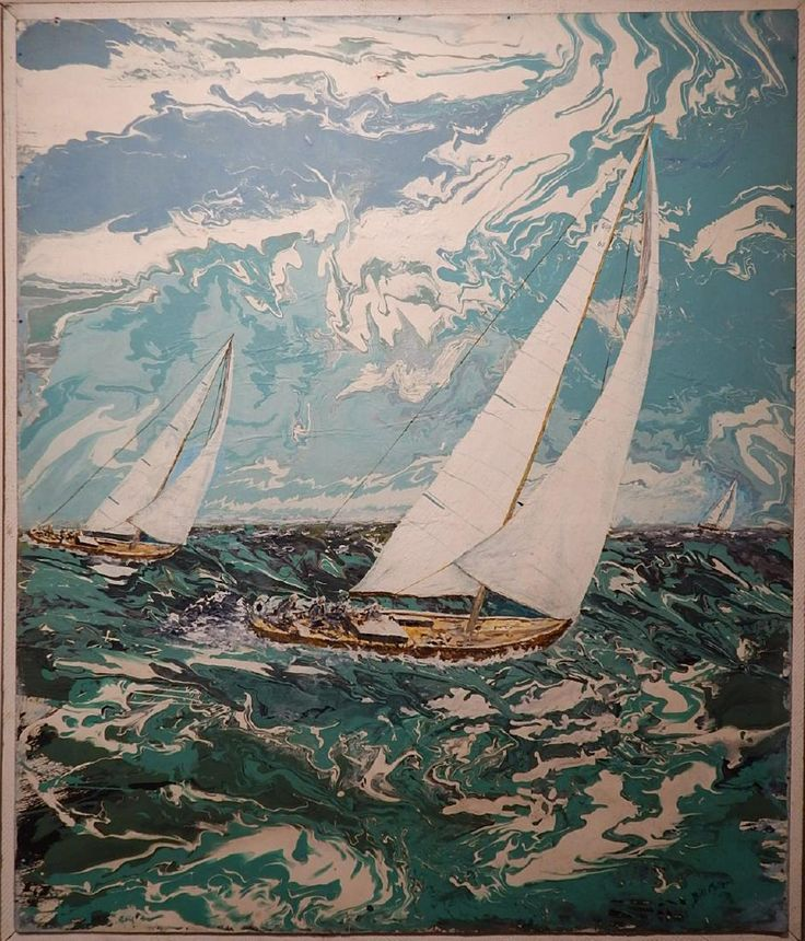 Lot: Bill Miller:  Florida Modern Sailboat Racing Oil, Lot Number: 4444, Starting Bid: $100, Auctioneer: The Woodshed Gallery, Auction: Surf, Turf & Portraits, Date: March 1st, 2017 MST