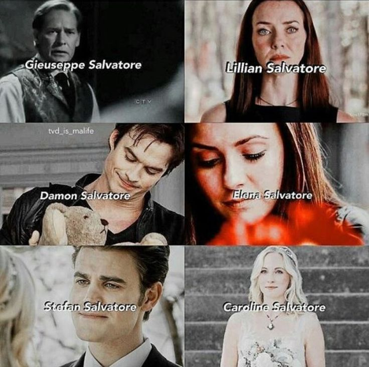 The Vampire Diaries: Gieuseppe, Lily, Damon, Elena, Stefan, and Caroline