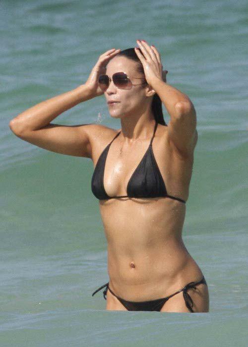 Paula Patton in bikini on Miami beach, Florida in July 2010...