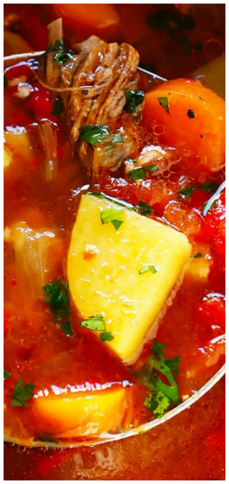 Mexican Vegetable Beef Soup ~ Full of tender steak, potatoes and veggies, and made with the most comforting tomato-chile broth.