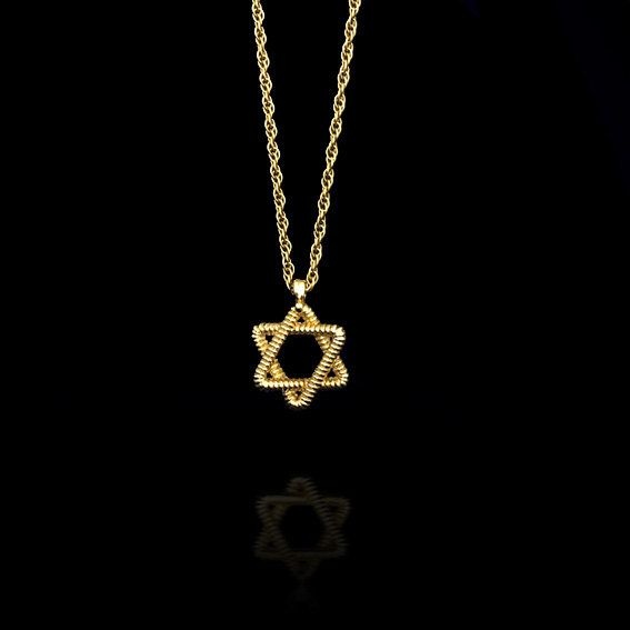 Gold Star Necklace, Jewish Jewelry for Him or Her in 24 Gold Plating and Gold Filled Chain, Textured Star of David Charm, Judaica Jewelry. on Etsy, 188.25₪